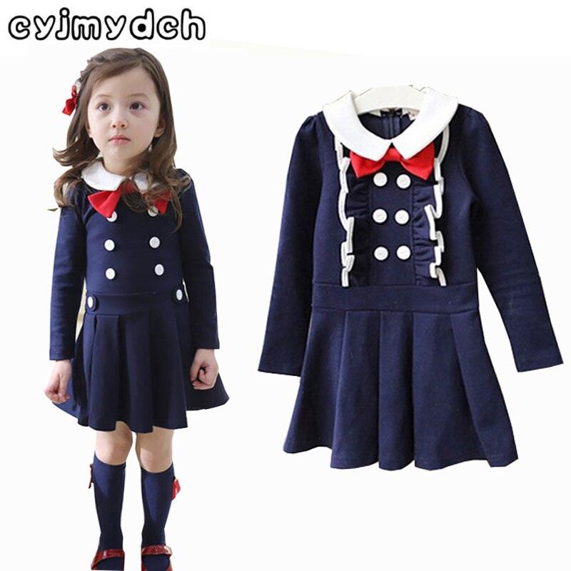 1ab97d7685aac Otoño vestido cruzado muchacha Rosa marino algodón princesa vestido para la  boda del partido niños ropa para 2-7Years