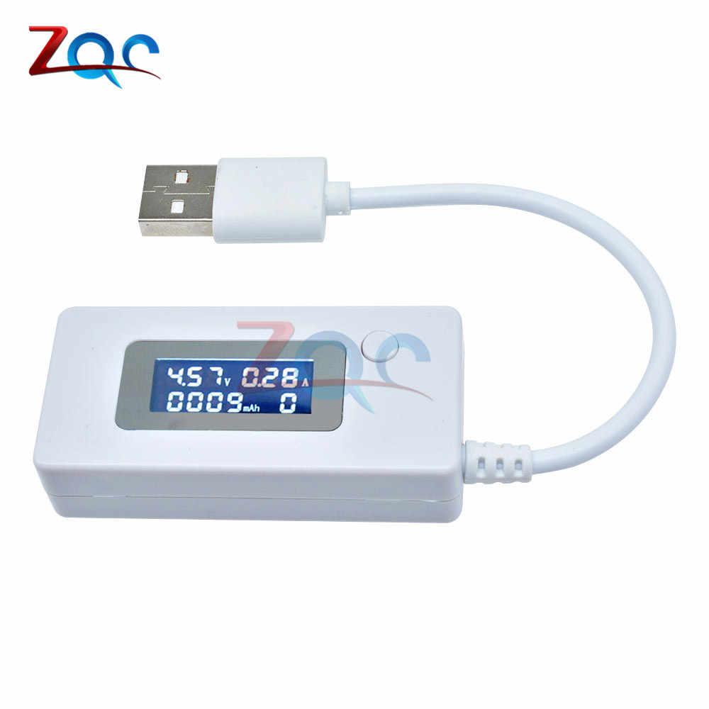 جهاز قياس الفولتميتر بشاشة LCD يعمل بمنفذ USB جهاز قياس التيار الكهربائي وشاحن الطاقة المحمول جهاز قياس السعة 3 فولت-7 فولت تيار مستمر 3-7 فولت
