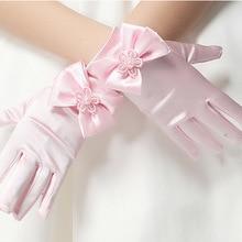 10 adet/grup çocuk çocuk çiçek kız kısa eldiven beyaz kırmızı pembe öğrenci dantel eldiven kostüm dans eldiven ücretsiz kargo toptan