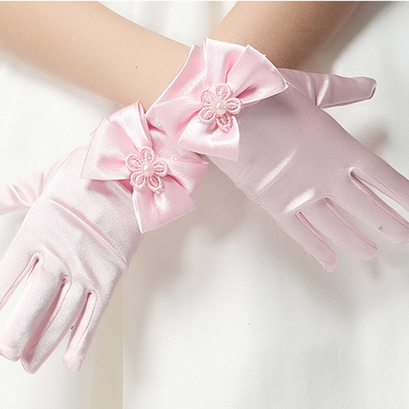 10pc/ lot Kid child flower girl short gloves white red pink student lace glove costume dacning glove free shipping wholesalelace gloveswholesale lace glovesgloves white -