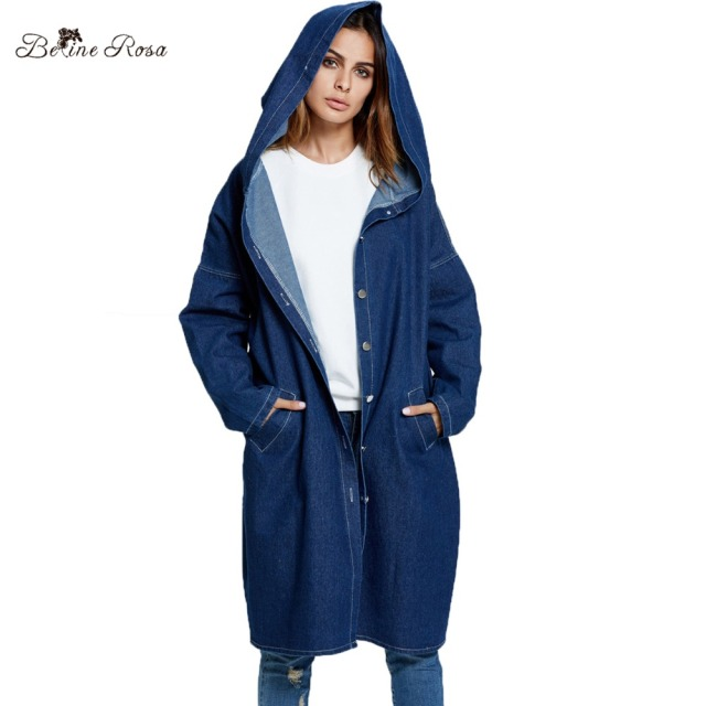 42ab89cc7f9 BelineRosa Plus Size Women Clothing 2018 Women s Denim Coats Hooded Long Autumn  Females Oversized Big Size Trench OST00014