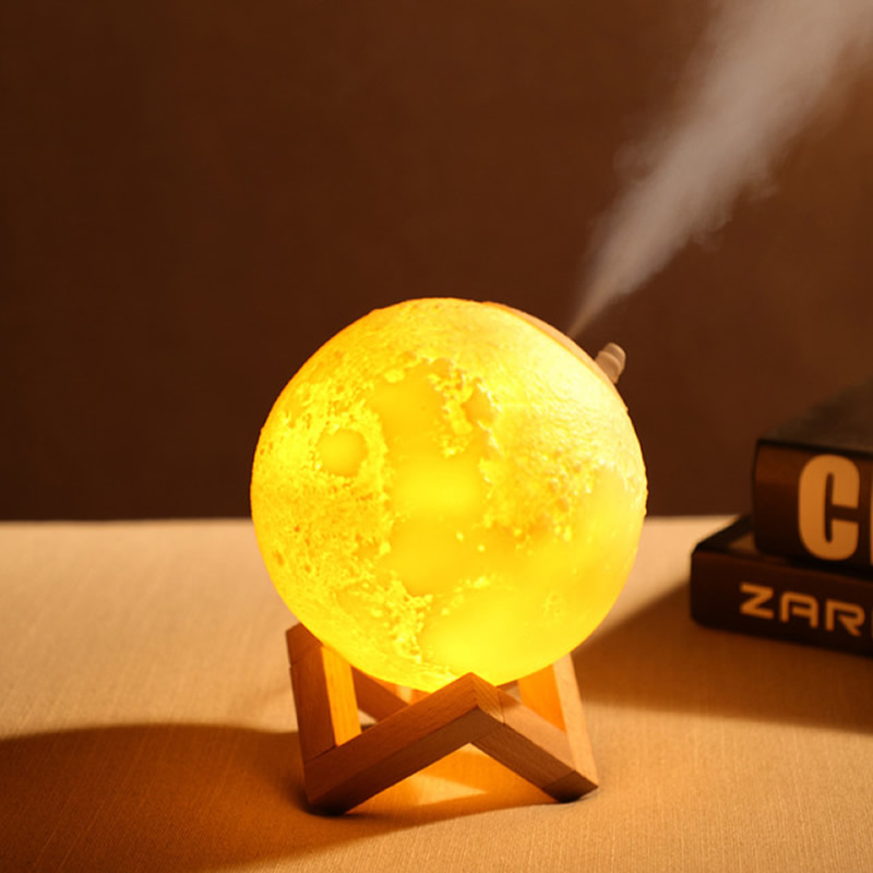 3D Moon Lamp Humidifier With 3 Color Changing Night Light USB Charging Air Mist Maker For Bedroom