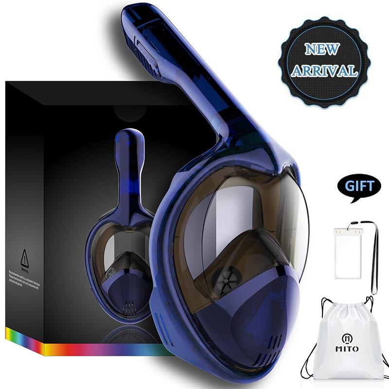 2018 Snorkeling de cara completa máscaras vista panorámica Anti-niebla anti-fugas natación Snorkel buceo máscara de buceo subacuática GoPro compatible