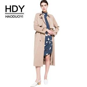 Image 1 - HDY Haoduoyi 2020 automne nouvelle haute couture marque femmes classique Double boutonnage imperméable Trench manteau imperméable affaires vêtements dextérieur