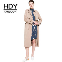 Haoduoyi Outerwear Trench-Coat Waterproof Autumn Double-Breasted Women High-Fashion-Brand