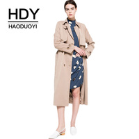 HDY Haoduoyi 2019 Autumn New High Fashion Brand Women Classic Double Breasted Trench Coat Waterproof Raincoat Business Outerwear