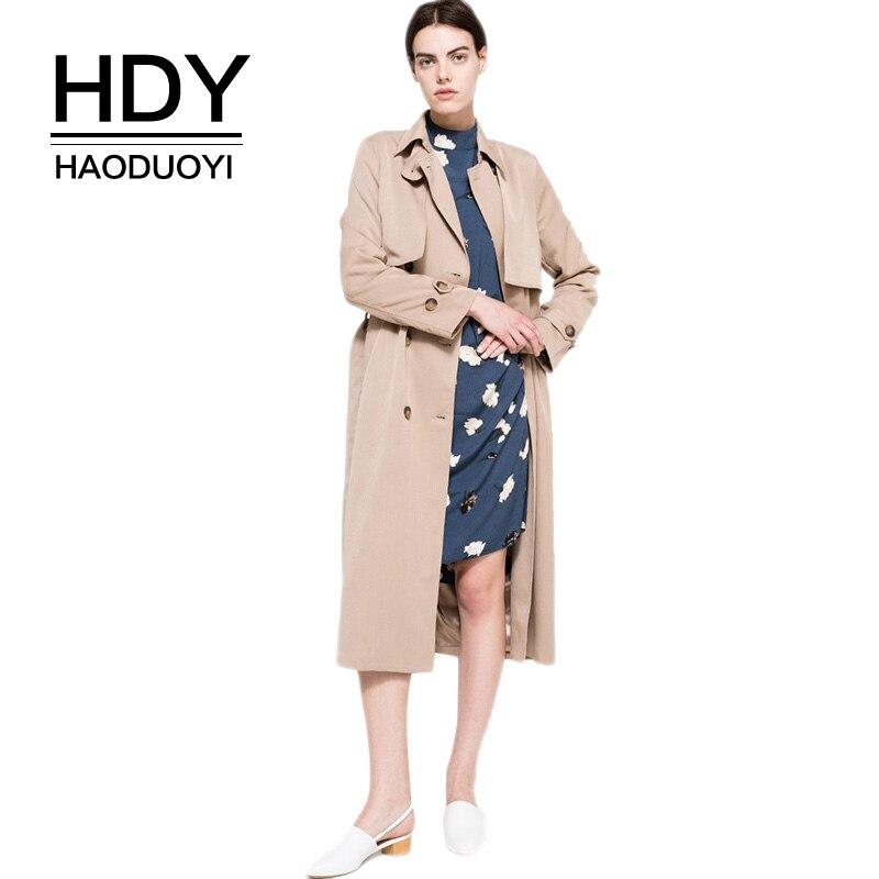 HDY Haoduoyi осень тренч двубортный плащ на осень классический цвет хакки бежевый весна для женщин деловой стиль водонепроницаемый офисный с поясом отложной воротник повседневный длинный для женщин новая коллекция|loose trench coat|trench coat|loose trench - AliExpress
