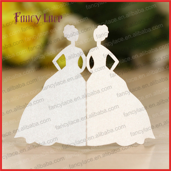 50PCS Wholesale Laser Cut Wedding Invitation Decorations Place Cards Table Cards, Girls Shaped Princess Rave Paper Party Decor