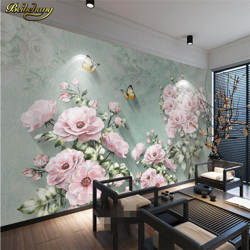 beibehang Custom Photo Wallpaper Mural Wall Sticker European Nostalgic Retro 3D Rose Butterfly TV Wall papel de parede