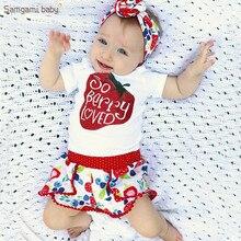 79729f464b73f Samgami الطفل 2018 الصيف لطيف الطفل الفتيات الملابس مجموعة أطفال تي شيرت +  بنطلون + عقال 3 قطع الاطفال الملابس الفاكهة الطباعة ا.