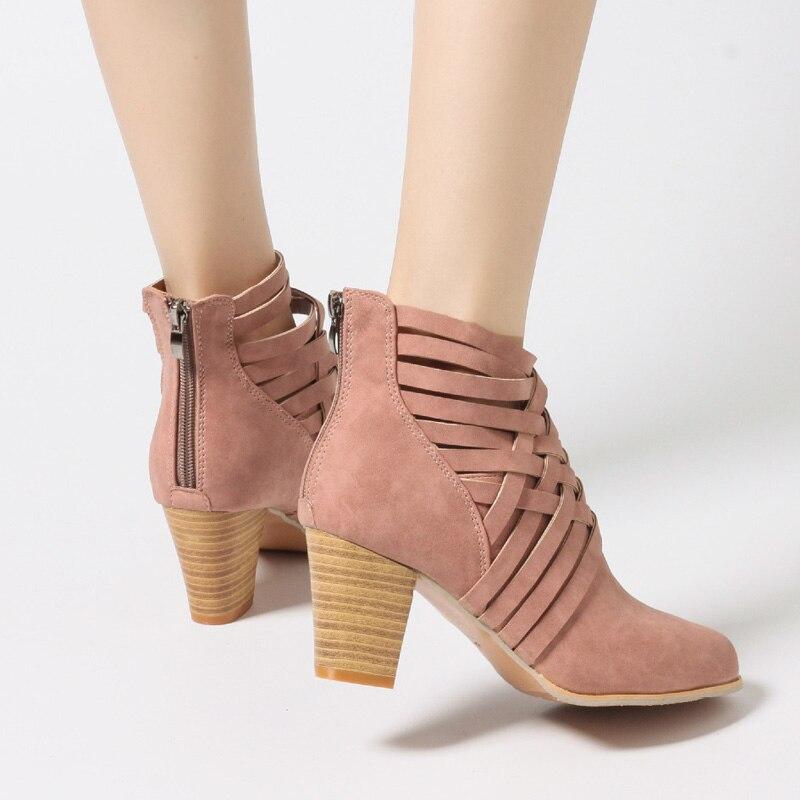 Alto Zapatos Cuadrado Sandalias Mujer Del Verano Plus Brown Señoras pink Casuales Mujeres Tacón La Redondo Tamaño Dedo De 35 Las Pie 43 5IcqSOw8