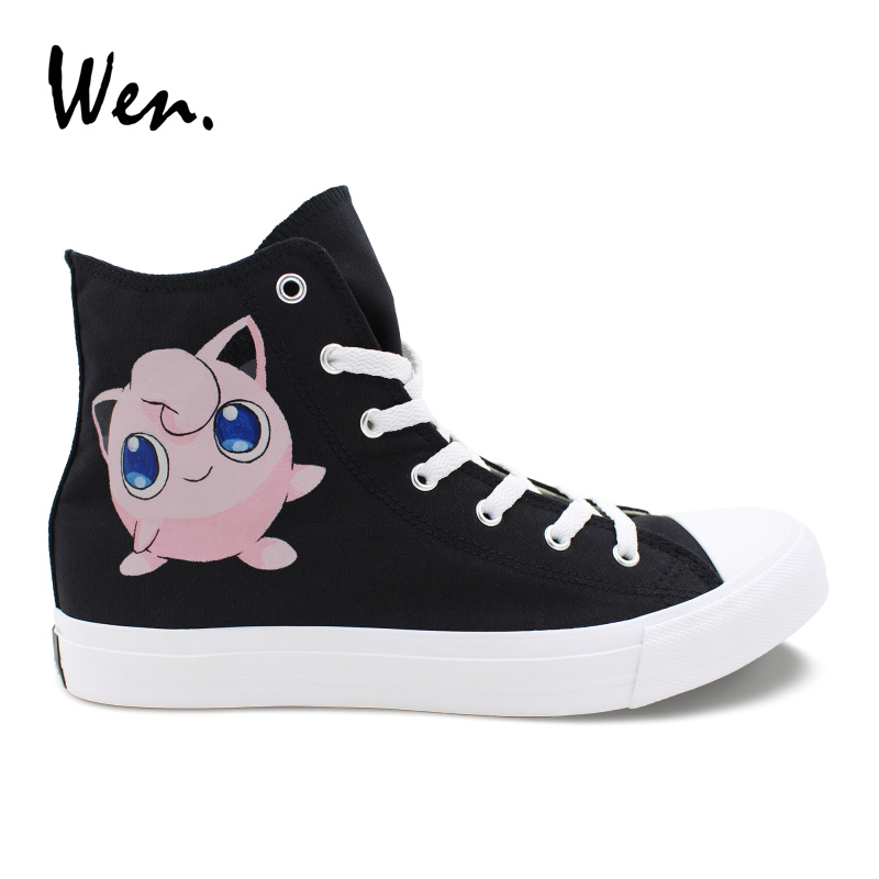 Wen Custom Hand Painted Canvas Shoes Cartoon Jigglypuff Anime Pokemon Design Sneakers High Top Men Women Bottom Shoes Soft 2016 new cartoon anime figure despicable me 2 minion shoes couples hand painted canvas shoes women men casual shoes big size 10