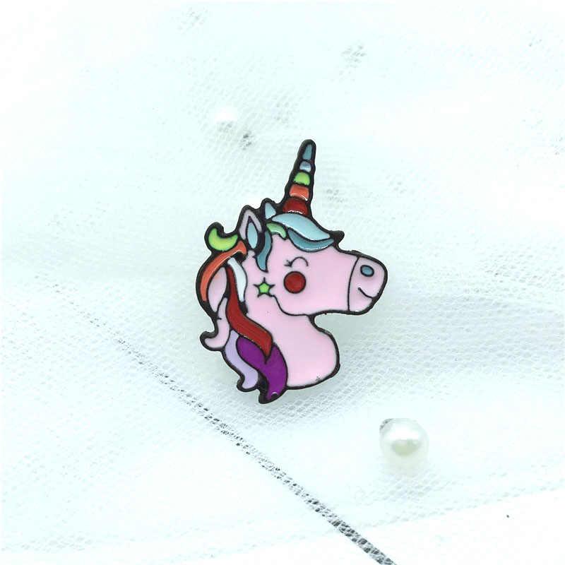 Bebê Unicórnio Pino Esmalte cor unicórnio rosa branca broche emoticon estrela de cinco pontas-broche de jóias para dar às crianças das presente