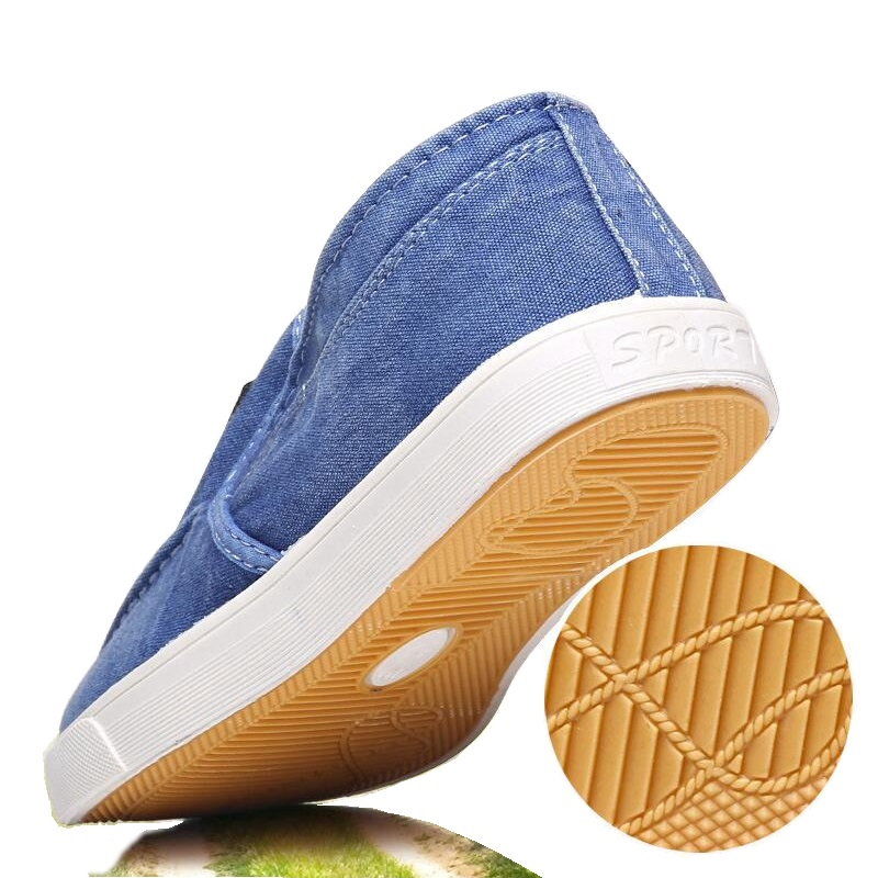 Image 5 - Summer Canvas Shoes Men Sneakers Casual Flats Slip On Loafers Moccasins Male Shoes Adult Denim Breathable Gray Zapatos HombreMens Casual Shoes   -