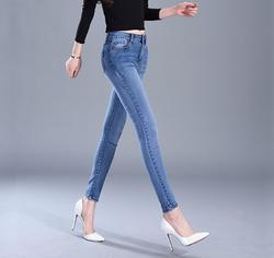 Новые осенние и зимние джинсы женщин тонкий стрейч студент Штаны Облегающие штаны толстые ковбойские штаны синий