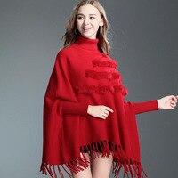 Women Batwing Sleeve Occident New Winter High Collar Fur Design Tassel Hem Cloak Cape Tops Knitted Poncho Sweater Coat Shawl