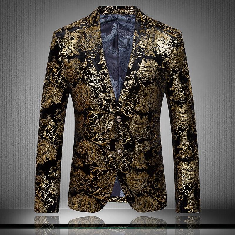 Personalized single suit jacket Slim flower print velvet suit fashion trend men