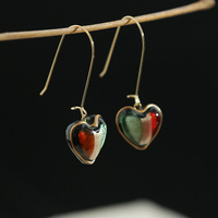 Distribution of New Fashion Peach Heart Gradual Change Temperament Mysterious Earring and Ear Needle Jewelry in 2018