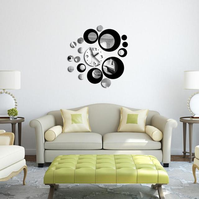 The Acrylic 3D Mirror Wall Sticker Fashion Black Circle Around 3D Wall  Clock For Living Room