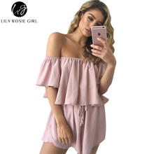 91b2ac1fd1 Lily Rosie Girl Women Army Green Off Shoulder Ruffles Summer Party Romper  Sexy Casual Fashion Beach Playsuits Overalls