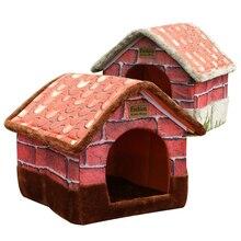 Casa de perro mascota cálida y cómoda Cama de Gato Vintage ladrillo sofá perrera nido con cojín perro gato cama para pequeño mediano perros