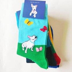 ORIGINALE donne bull terrier calzini sveglio della novità calzini divertenti con bulterier amante del cane regalo pazzo crew calzini cucciolo di 10/50 paia /pack