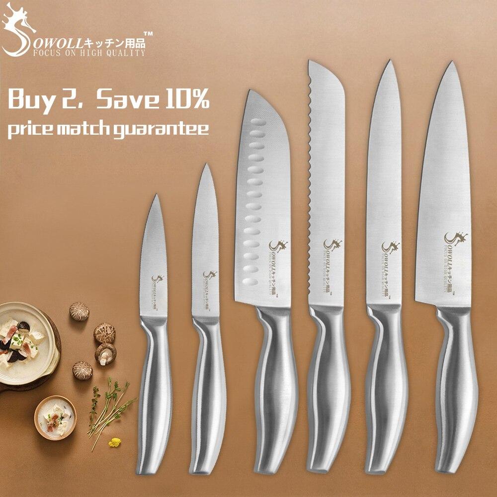 SOWOLL бренд инструменты для приготовления пищи 6-Pieces набор фруктов, утилита, Santoku, нарезки, хлеб, нож шеф-повара острые кухонные ножи из нержаве...