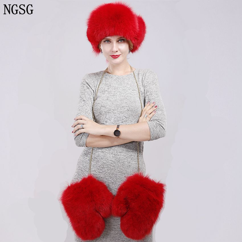 NGSG Brand Women Solid Fox Fur Hat Gloves Set Winter Kit Female Multicolor Bomber Ear Cap Gloves Fashion Teenager Girl's Hats