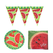 Hawaiian Birthday Party Watermelon Theme Disposable Tableware Paper Napkins Plate Supplies Set