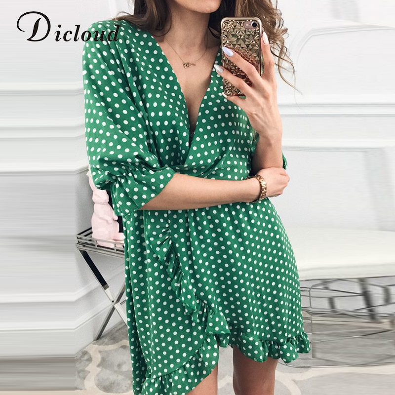 DICLOUD Short Women Ruffles Print Polka Dot Sexy Bodycon Half Sleeve Mini Dresses