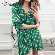 DICLOUD Breve Delle Donne Wrap Dress Ruffle Polka Dot Stampa Sexy Beach Vestito Estivo Vintage Mezza Manica di Estate Mini Vestiti Da Partito Boho(China)