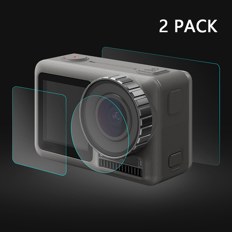 Camera Tempered Glass film Lens Accessories Cover Set 2 pack Front Rear For DJI OSMO Action Practical in Screen Protectors from Consumer Electronics