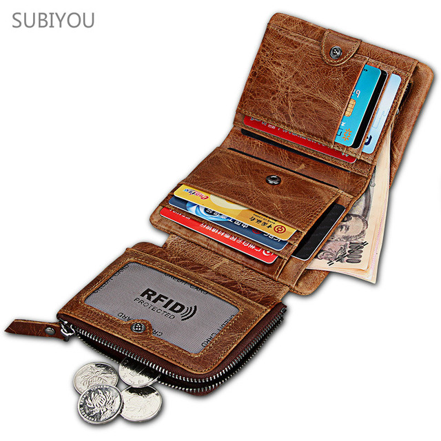 1f7b91d38215 US $22.02 20% OFF|Men RFID Blocking Wallet Small Vintage Crazy Horse  Leather Short Purse Bifold Burglar Brush Double Zipper Card Holder Coin  Browm-in ...