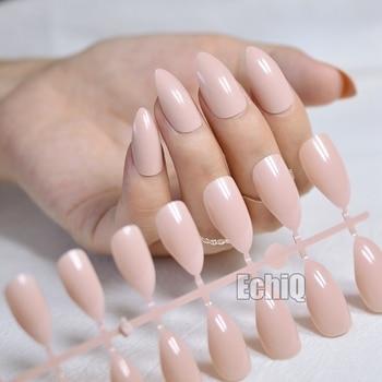 Stiletto Nail Design Kit Tips Sharp Top Medium Full Cover Press On Nails Light Pink Shiny Acrylic Fake Nails Manicure Tool 234P Маникюр