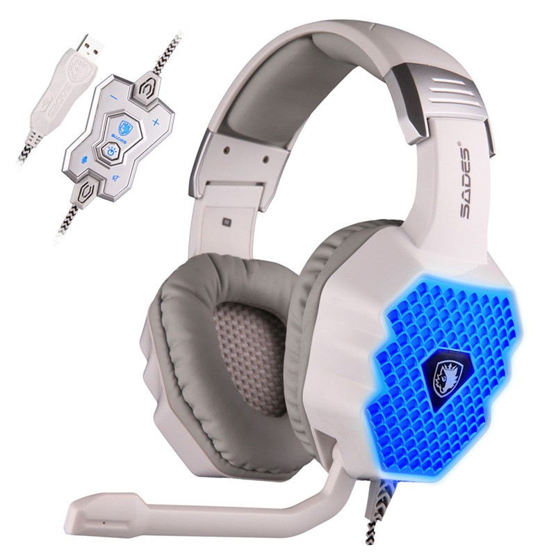 SADES A70 USB 7 1 Surround Sound Stereo PC Gaming Headphones with Volume Control Breathing LED