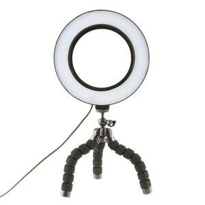 Image 4 - Đèn LED Selfie Vòng Ánh Sáng Mờ Với Giá Đỡ Đầu Mini Linh Hoạt Bọt Biển Bạch Tuộc Chân Đế Tripod Trang Điểm Video Sống Phòng Thu Photograp