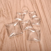 Square Clear Cabochons Transparent Glass for DIY Jewelry Making Handmade Pendant Accessories 10mm 15mm 16mm 18mm 20mm 25mm 30mm