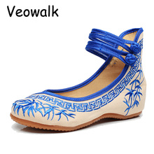 Veowalk Grande Taille Mode Femmes Ballerines Chaussures de Danse Chinois Fleur Broderie Doux Occasionnels Chaussures Tissu de Marche Appartements Zapatos