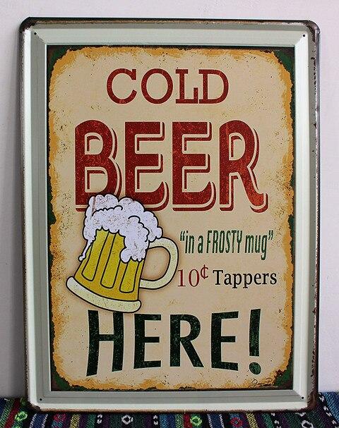30 stks/partij Metal Sign shabby chic Koud bier hier schilderen Vintage blikken borden art muur decoratieve schilderkunst Nostalgische muur opknoping G-in Kommetjes en borden van Huis & Tuin op  Groep 1