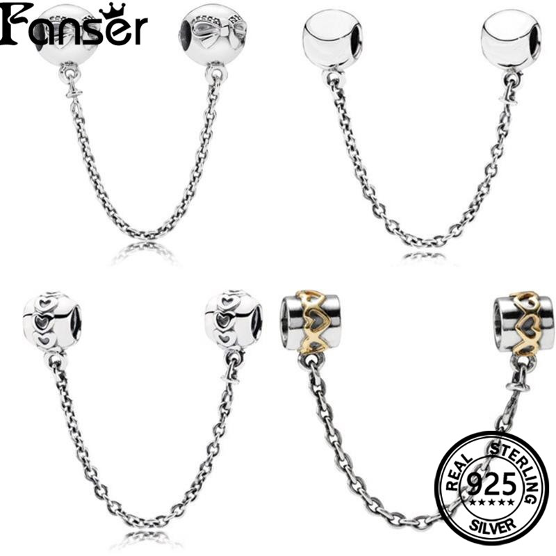 FANSER Safety Chain Have Logo High Quality 100% Sliver Genuine Copy 1:1 Pandor &Beautiful Bowknot Women Fashion Jewelry
