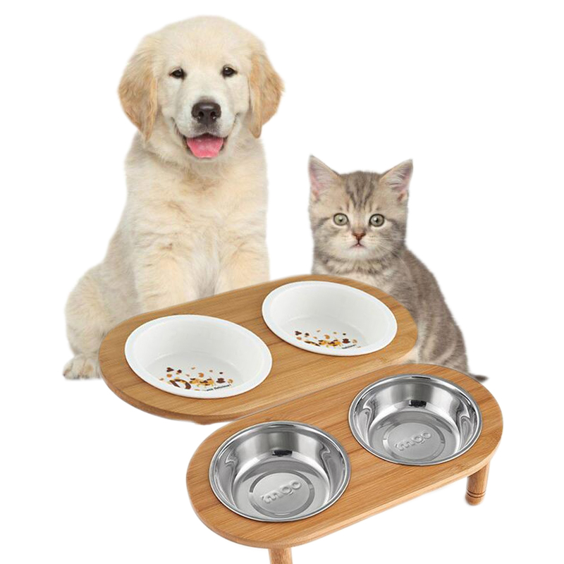 Bamboo Elevated Cat Dog Bowl Stand Two Ceramic Stainless Steel Bowls