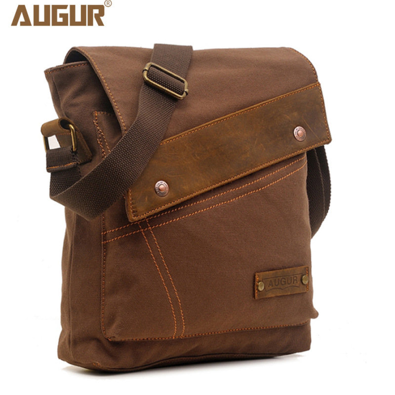2016 Canvas Leather Crossbody Bag Men Military Army Vintage Messenger Bags Large Shoulder Bag Casual Travel Bags augur-3