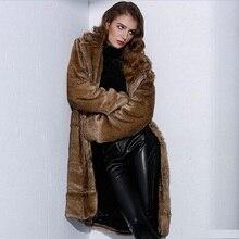 Fur coat female long fur coat fashion women's clothing 2018 suit collar artificial fur grass windbreaker warm plus cotton fur цена в Москве и Питере