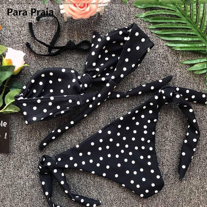 Cute Polka Dot Thong Bikini Sexy Bandeau Brazilian Bikini Set 2019 Bow Swimwear Halter Push Up Swimsuit Beach Bathing Suit May 3