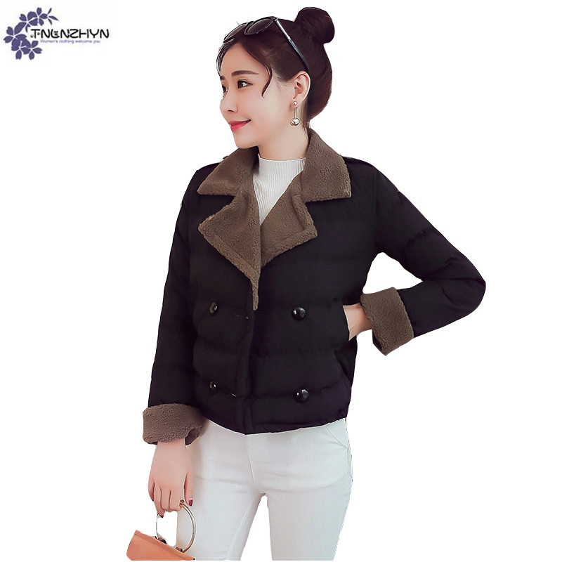 TNLNZHYN Women clothing high-end warm Cotton coat winter new fashion big size Leisure lapel Female short Cotton Outerwear QQ569