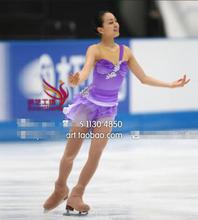 girls ice skating dresses custom women competition skating clothing free shipping purple ice skating wear