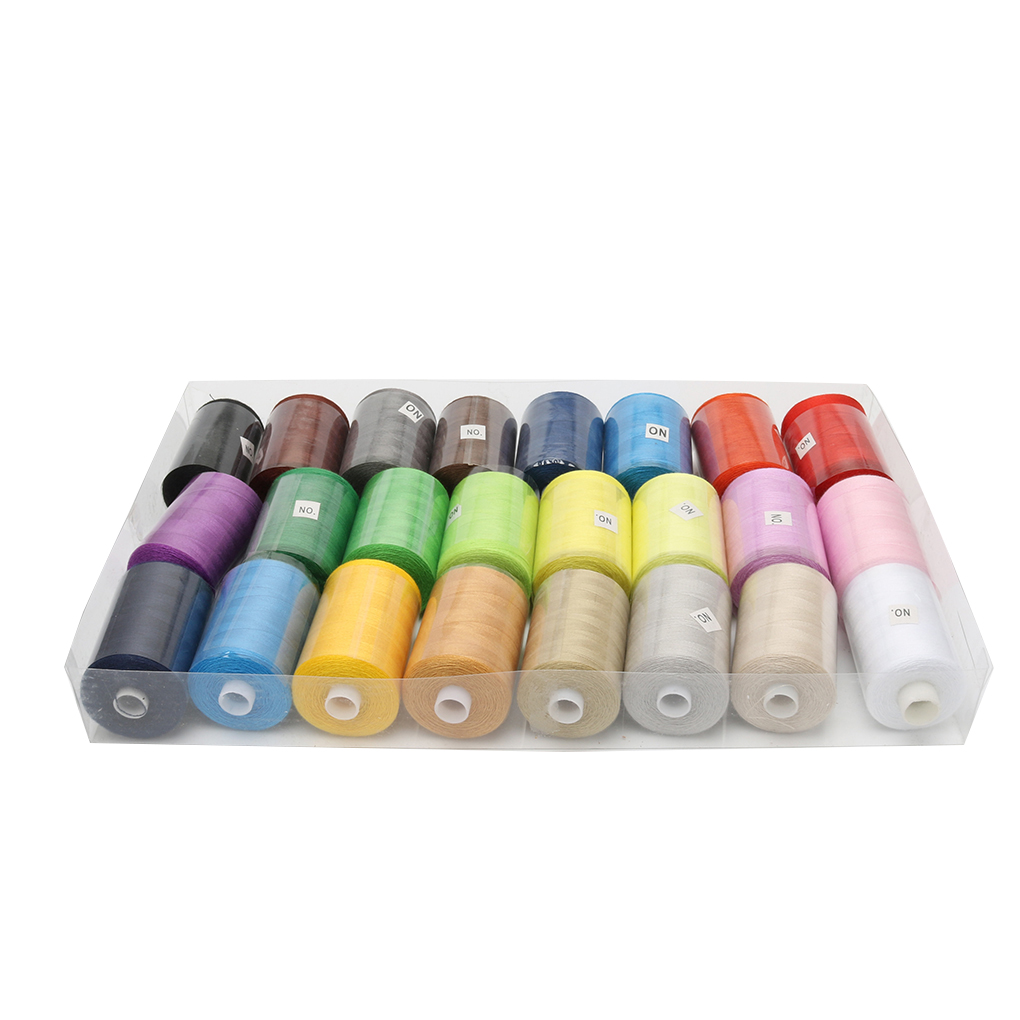 24pcs/set Colorful Machine Embroidery Thread Set Polyester Sewing Hand Craft Patch Thread Kit