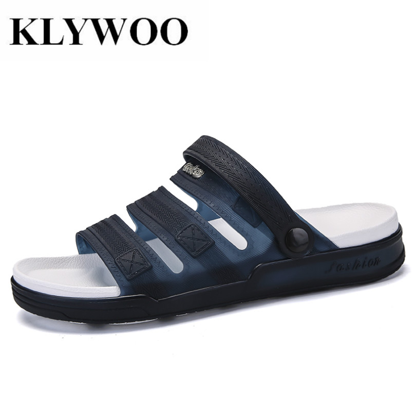 KLYWOO Men Beach Sandals Casual Men Shoes Summer Fashion Beach Flip Flop Slippers Jelly Shoes Sapatos Hembre Sapatenis Masculino