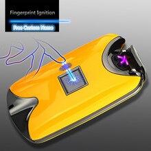 USB Leichter Aufladbare Elektronische Feuerzeug Zigarette Fingerprint Plasma Leichter Dual Arc Zigarre Palse Persönliche Unterschrift Nach