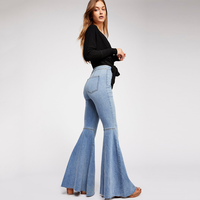 ef2f23e467 Flare High Rise Jeans Hippie Chic Raw Hem Denim Trousers Vintage 2018 Fall High  Waist Long Women Pants Slim Stretchy Jeans